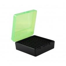 MTM Ammo Box 100 Round 38 / 357 Clear Green/Black